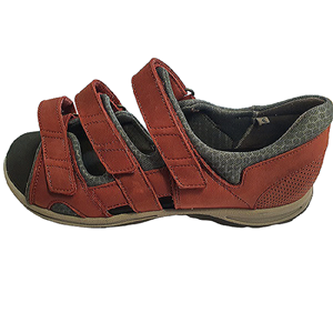 Sandal w heel cap oiled leather, bordeaux str 40